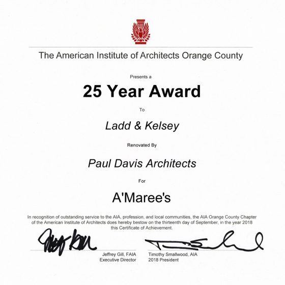 The American Institute of Architects 25 Year Award presented to Paul Davis Architects