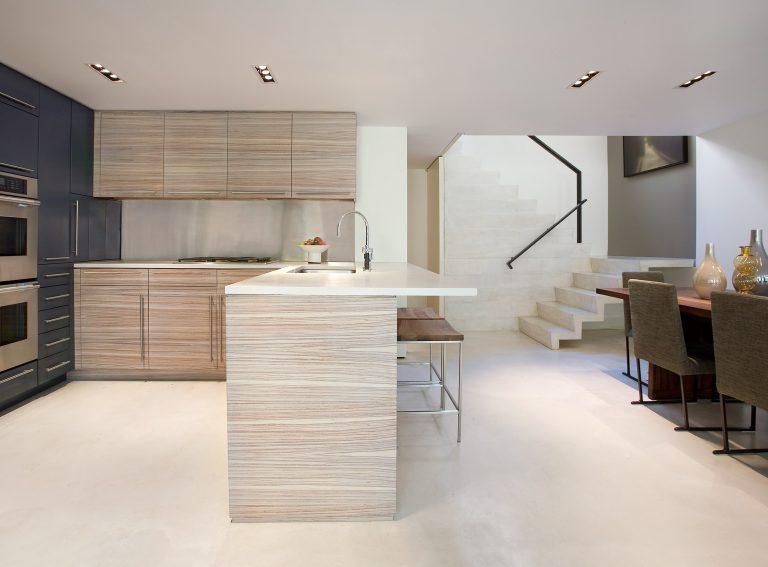 A gorgeous kitchen designed for entertaining, featuring Zebrawood cabinetry