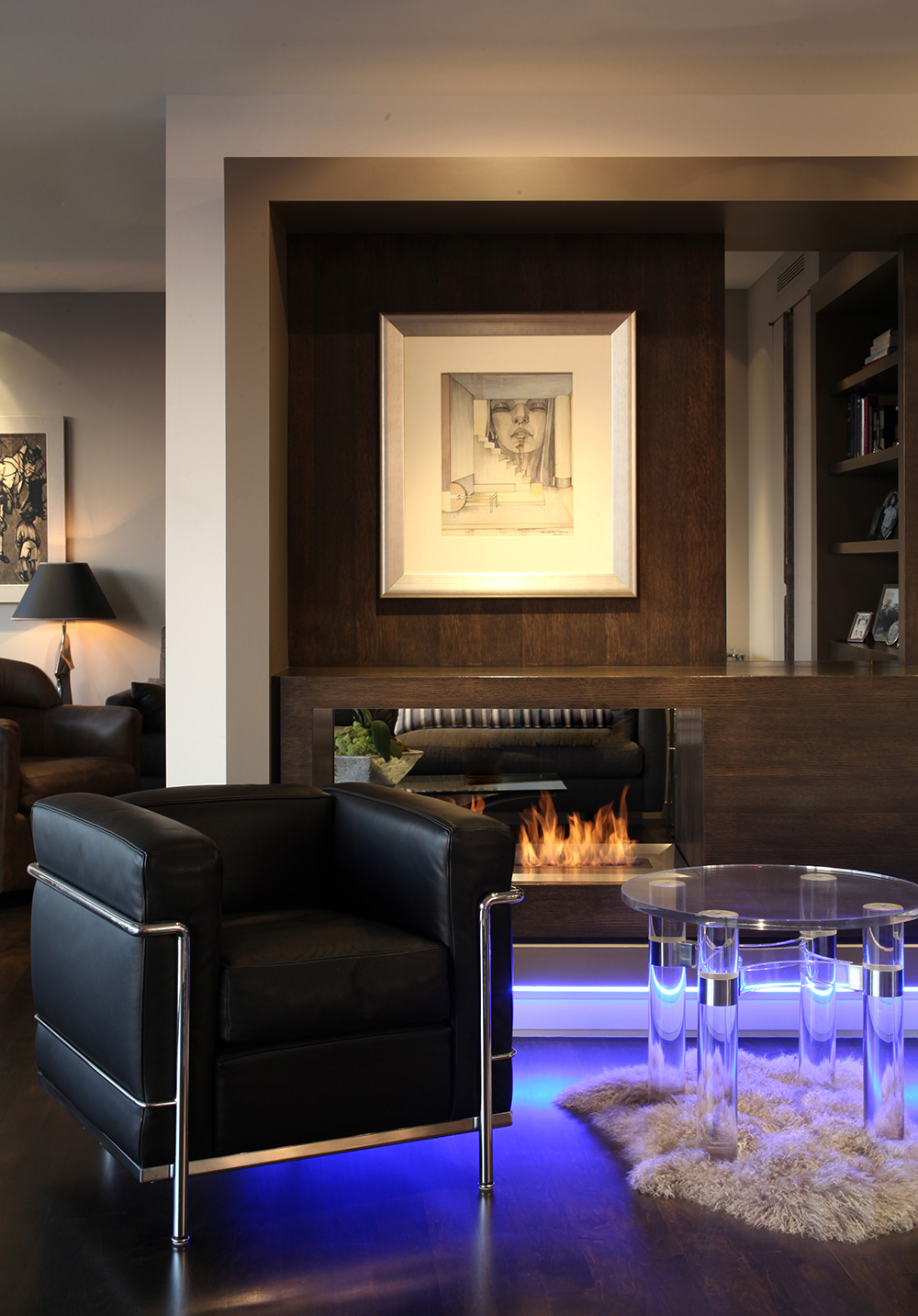 Superb living area detail in this condo remodel in Los Angeles, CA