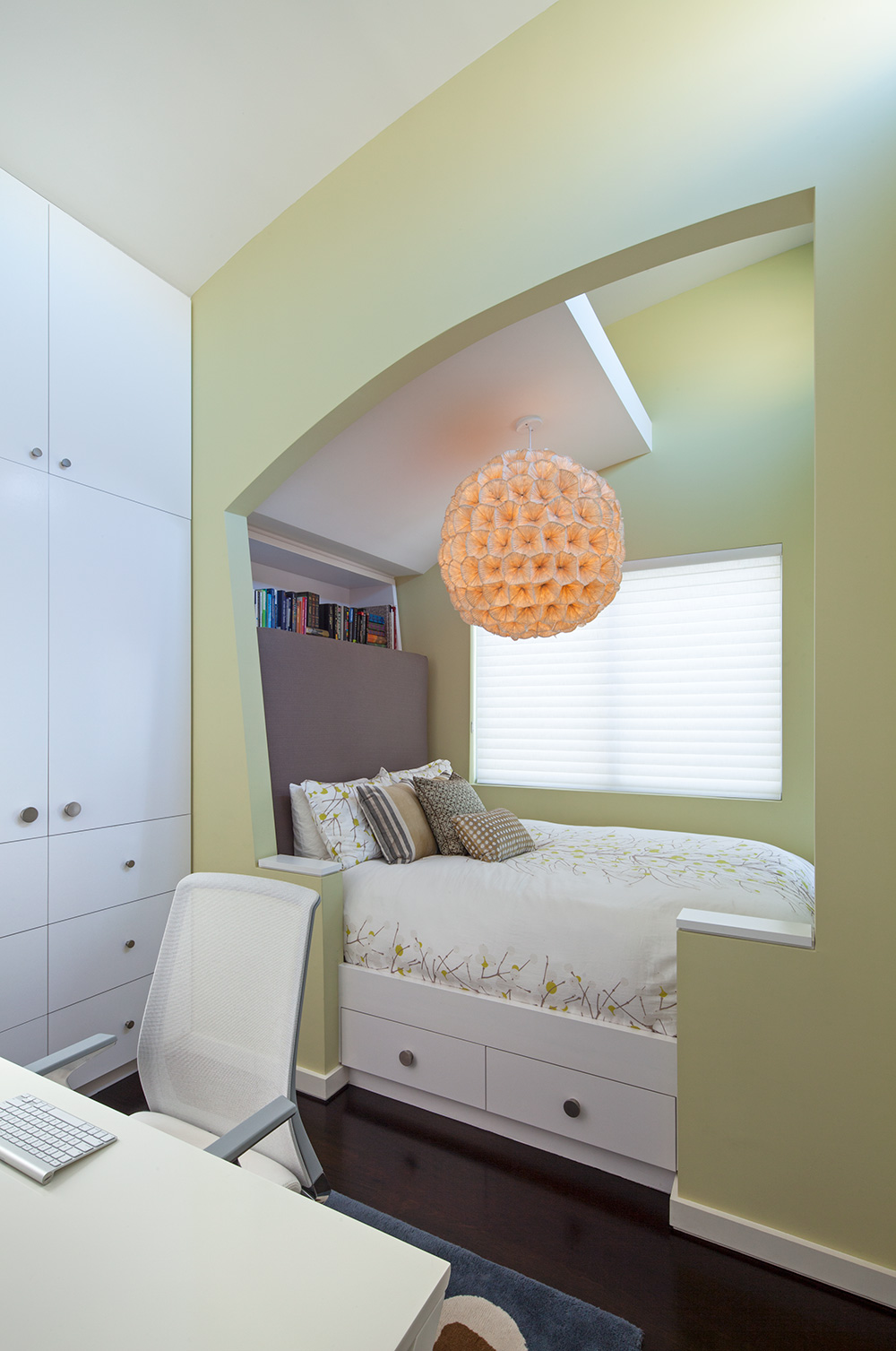 """Renovated home office features a unique """"snuggle-hutch"""" bed nook, complete with queen sized mattress & flat screen TV"""