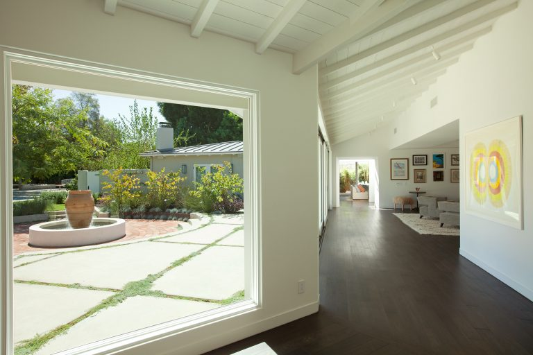 Indoor and outdoor view of this new Sullivan Canyon home