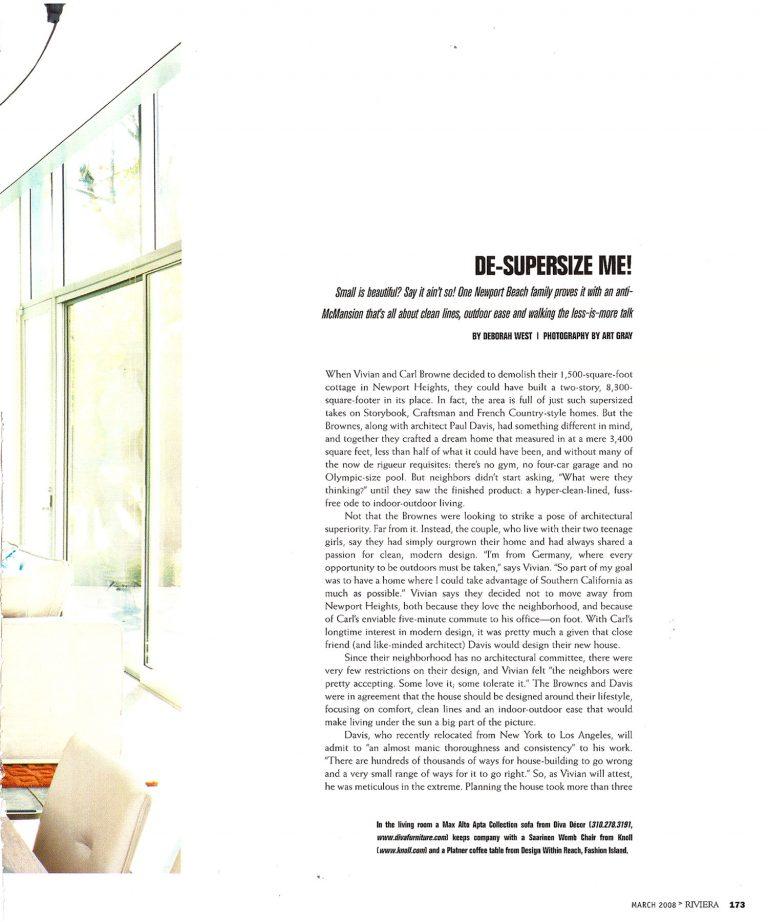 Newport Beach residence featured in Riviera Magazine